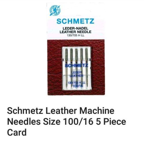 fuerte Original Schmetz Máquina de Coser Agujas De Cuero Talla 100//16 resistente