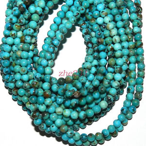 Natural-Blue-Turquoise-6mm-Round-Gemstone-Beads-15-034-beauty