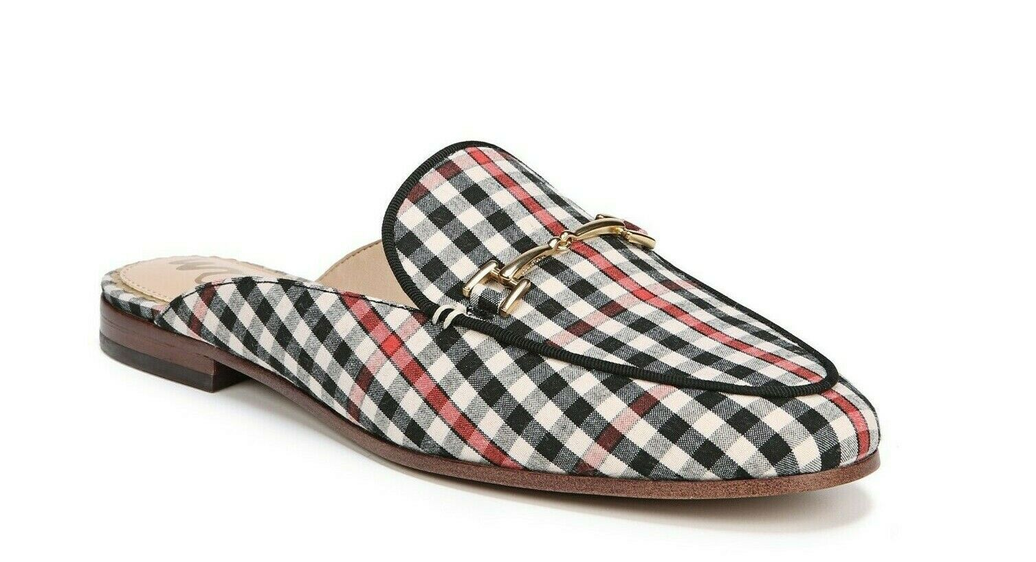 Sam Edelman Linnie Women's Size 8.5M Gingham Multi Fabric Slip-On Flat Mules New