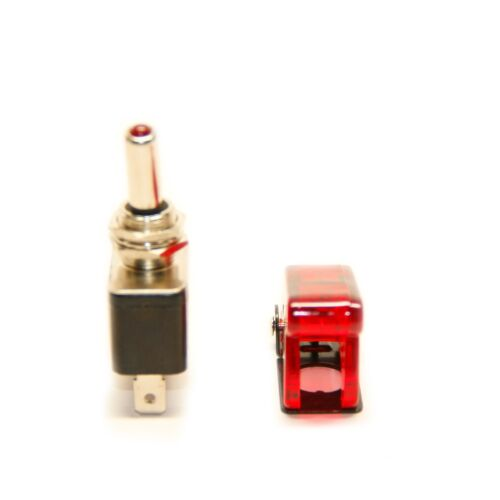 Red Safety Switch Flip Cap Cover X2 Pactrade Marine Red LED Dot Toggle Switch