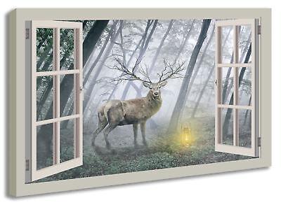 Leinwandbild Wandbild Fensterblick Hirsch Tier Wald Landschaft