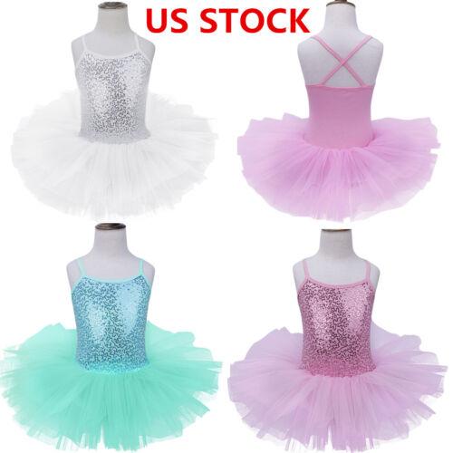 US Girls Ballet Dress Gymnastics Leotard Skirt Ballerina Dancewear Swan Costume