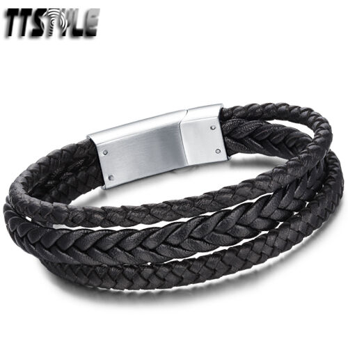 Quality TTstyle Real Leather S.Steel Clasp Bracelet Two Colors Available NEW