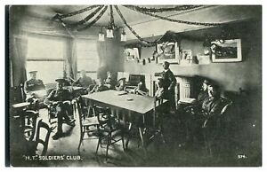 Antique-WW1-military-printed-postcard-M-T-Soldiers-Club-inside-view
