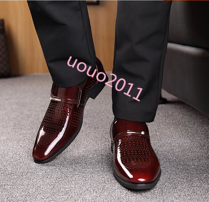 Mens Fashion slip on Patent Leather dress hollow out formal business shoes New