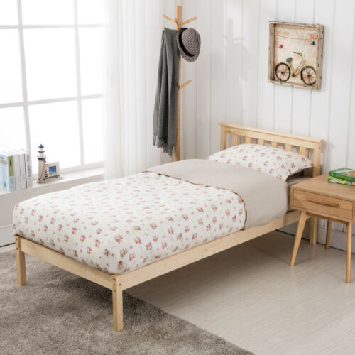 3FT Single Bed Solid Pine Wood Frame with Sturdy Slats Base Bedroom Furniture