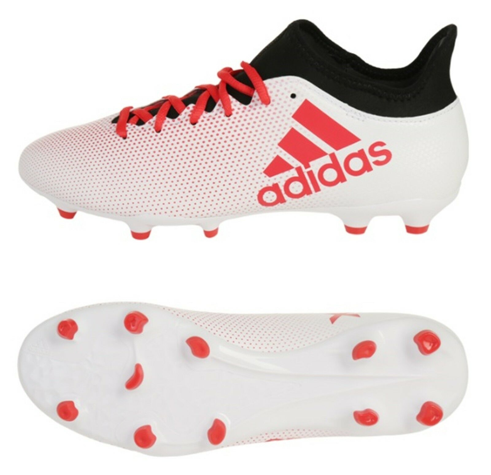 Adidas Hommes X 17.3 FG Cleats Soccer blanc rouge Football Futsal chaussures Spike CP9192