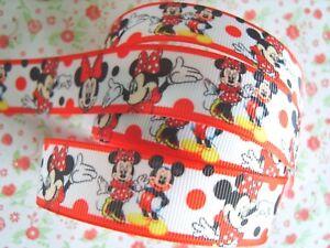 1 M X Mickey Minnie Mouse gros-grain Ribbon Craft Hair Bow Gâteau 25 mm