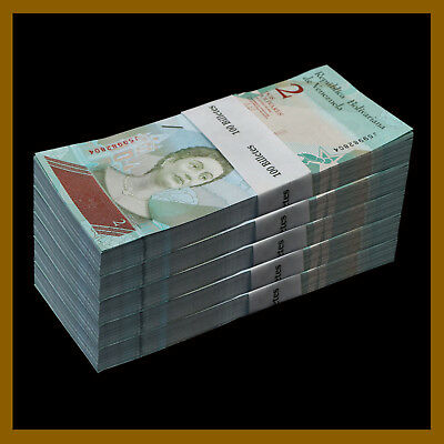 Venezuela 2 Bolivares Soberanos x 100 Pcs Bundle 2018 P-New Unc