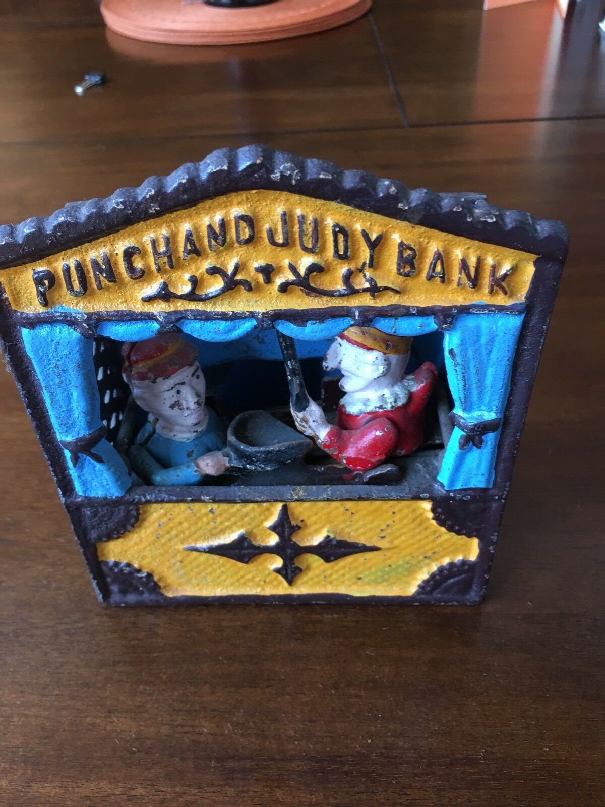 "Antique Punch And And And Judy Cast Iron Mechanical Bank ""Not Working"" For Parts Or Fix 2fa93c"