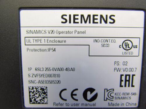 OPERATOR PANEL 6SL3255-0VA00-4BA0 NICE MAKE OFFER !! SIEMENS SINAMICS V20