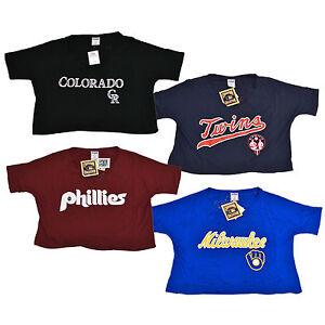 Victoria-039-s-Secret-Pink-Crop-T-Shirt-Mlb-Graphic-Logo-Tee-Baseball-Vs-New-Top