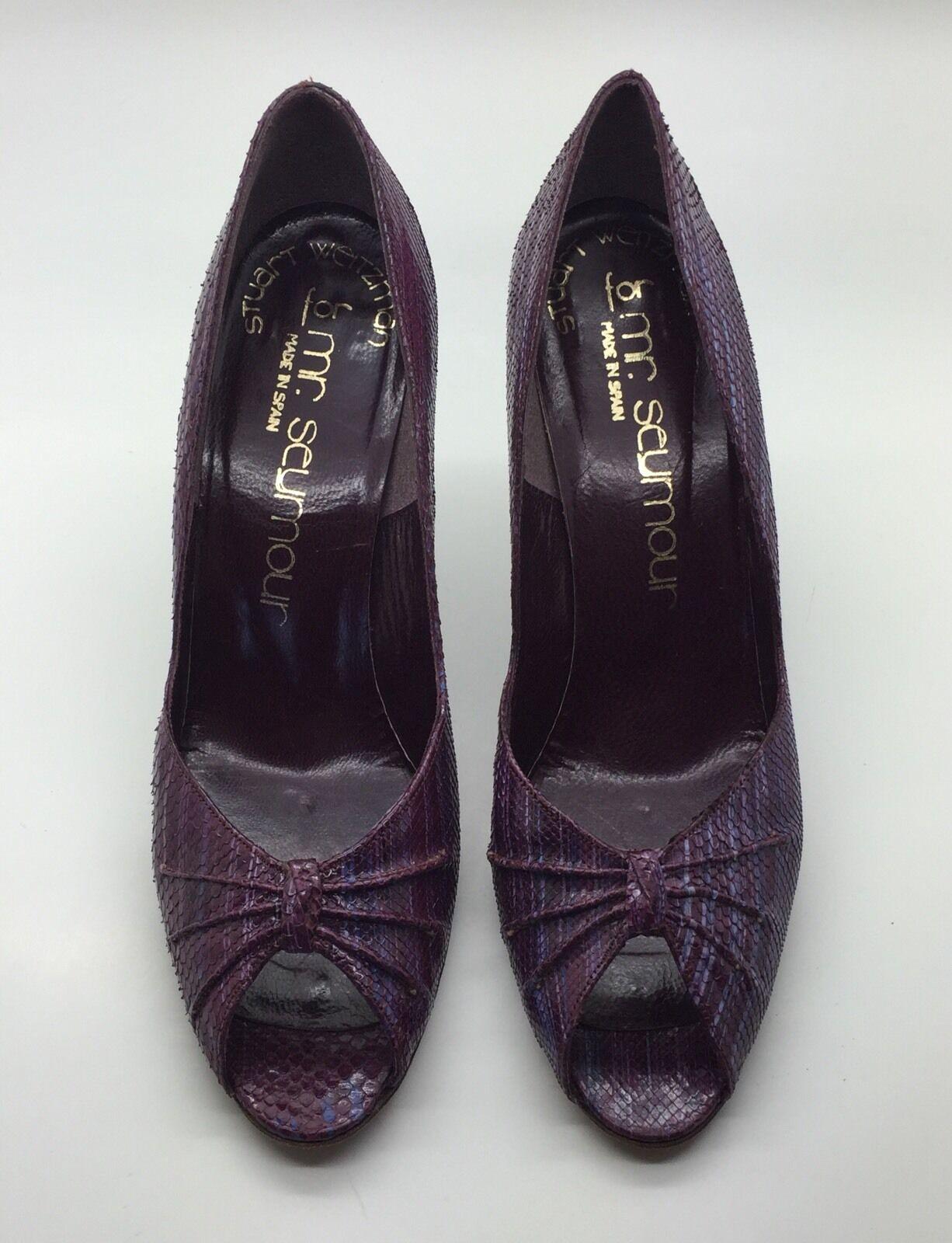 MR. SEYMOUR Purple Snake Skin & Leather Open Toe Stiletto Heels Sz 7.5AA Spain