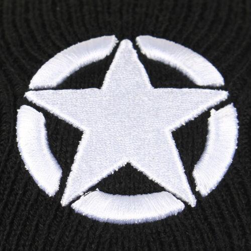 Black WW2 1943 Star Beanie Hat 100/% Acrylic One Size