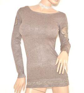 MAGLIETTA-BEIGE-TORTORA-donna-manica-lunga-maglia-sottogiacca-pizzo-strass-Z25