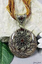 Glass Jewels Bronze Halskette Collier Vintage Amulett Römischer Stil Antik #N024