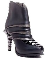 Unique Hades Sidhe Black & Pewter Shiny Cyber Ankle Boots 5 High Claw Heels