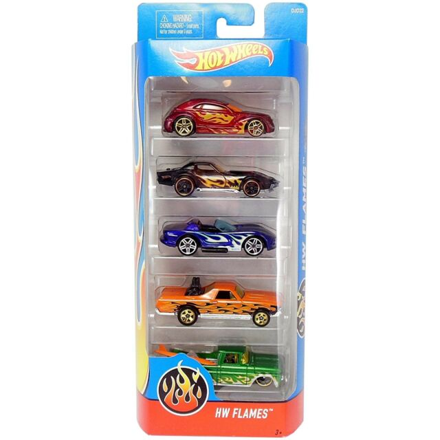 Hot Wheels HW FLAMES 1:64 Scale Diecast Vehicle 5-Pack of Cars (DJD22) by Mattel