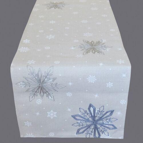 Tischläufer 40 x 140 cm Tischdecke Tischdeko grau silber Weihnachtsdeko Sterne