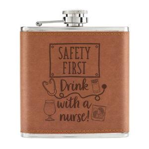 Securite-Premier-Boisson-Avec-Infirmiere-170ml-Cuir-PU-Hip-Flasque-Fauve-Gin-Vin