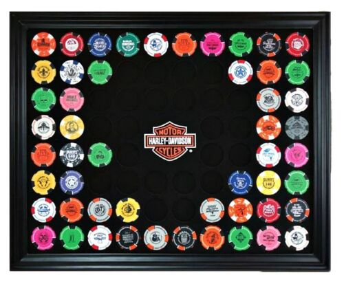 Harley-Davidson® Bar /& Shield 76 Poker Chip Collectors Frame Wall Mount 6976D