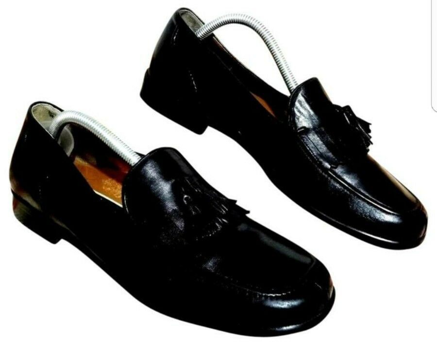 bb5c6951171 Bragano mans shoes 8 M M M black leather loafers made in Italy 72ec67