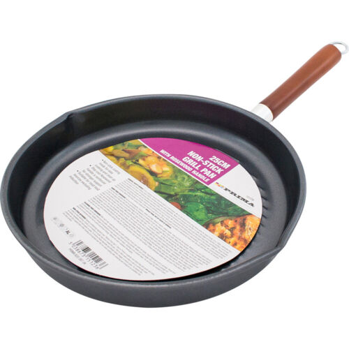 25CM NON STICK FRY PAN GRILL COOKING GRIDDLE BBQ STEAK COOK FISH WOODEN HANDLE