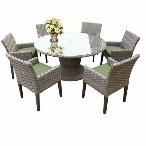 "Florence 60"" Outdoor Patio Dining Table with 6 Chairs with Arms in Cilantro 6091022316334"