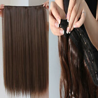 "One Piece 5 Clips in Human Hair Extensions Straight 100% Real Hair 15'' 16"" 90g"