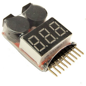 LIPO battery Voltage Tester and Low Voltage Buzzer alarm 1-8 Cell LED Display