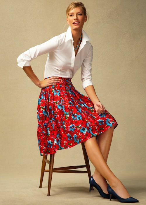 Talbots Plus Size Petite 18WP 2X Red bluee Floral Pleated Full Skirt Retro Vint
