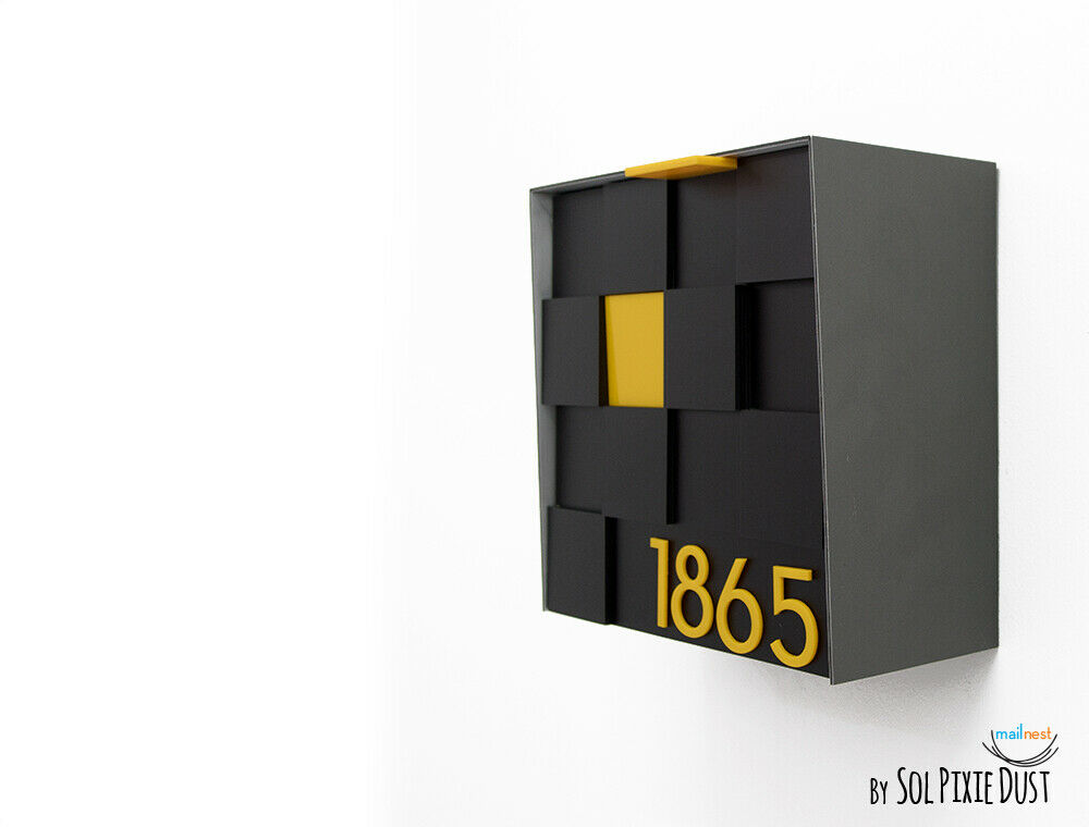 3d Modern Mailbox with 3d Face, Aluminum Body and Gelb numbers - Type 1