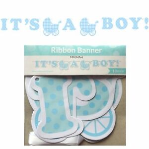 plaid baby boy ribbon banner boy baby shower party supplies