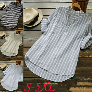 UK-Womens-Striped-V-Neck-Baggy-Blouse-Ladies-Casual-Loose-Tunic-Tops-Plus-Size