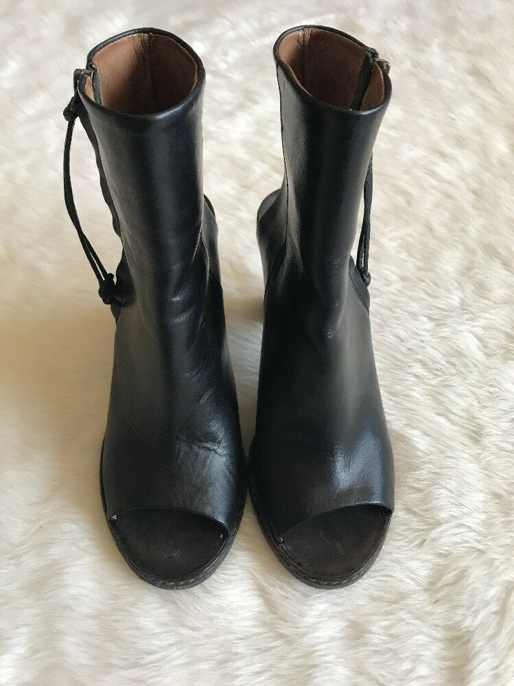 Women's Buttero Italy Black Leather Peep Toe Ankle Boot Heels Size 39 Side Zip