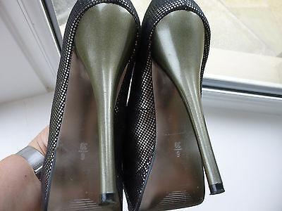 Señoras siguiente alto Peep Con Puntera Estaño/Negro Piel De Serpiente Patrón Talla 6 (EUR 39) del Reino Unido