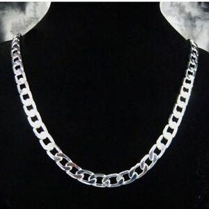 ASAMO-Herren-Panzerkette-Halskette-10mm-925-Sterling-Silber-plattiert-Kette