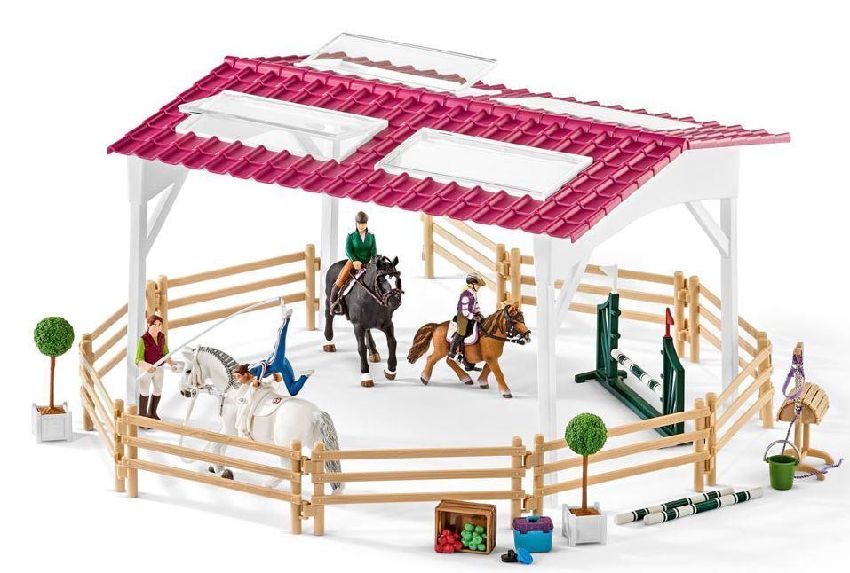 Schleich 42389 - Cheval Club - Equitation École avec Chevaux & Cavaliers