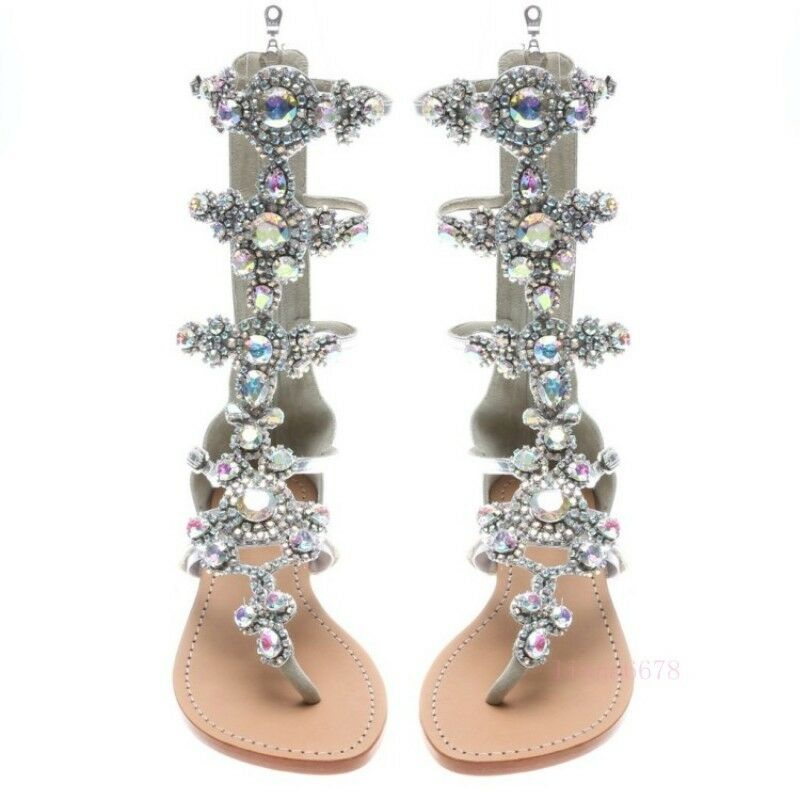 femmes Gladiator Rhinestone Bling Strap Back Zip Sandals Wedding chaussures Hot Sale