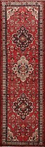 3-039-x10-039-Red-Traditional-Vintage-Geometric-Runner-Rug-Hand-Knotted-Oriental-Carpet