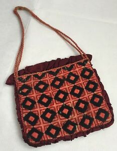 Antique-Vintage-Victorian-Hand-Worked-Wool-Work-Embroidered-Purse-Bag-Old-Early
