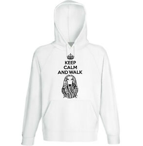 Modestil Afghan Hound P Keep Calm And Walk New Cotton White Hoodie In Den Spezifikationen VervollstäNdigen