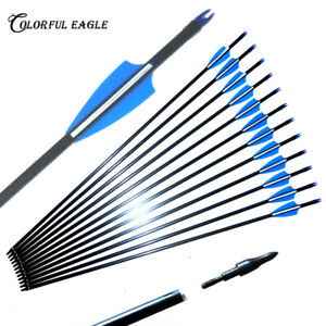 """Archery 32/"""" Fiberglass Arrows for Compound /& Recurve Bow Hunting Broadhead Gift"""