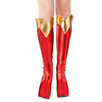 Adult's Supergirl Superhero Fancy Dress Party Accessory Red Boot Tops