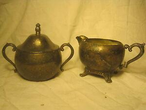 antique-silverplate-creamer-sugar-bowl-footed-ornate-metal-handle-vintage-pourer