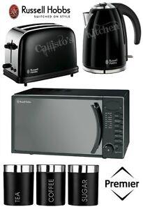 Image Is Loading Rus Hobbs Kettle Toaster Amp Microwave Black