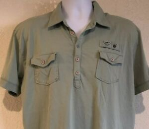 DIESEL-Womens-3XL-Top-Polo-Style-Shirt-Green-1978-Only-The-Brave-100-Cotton
