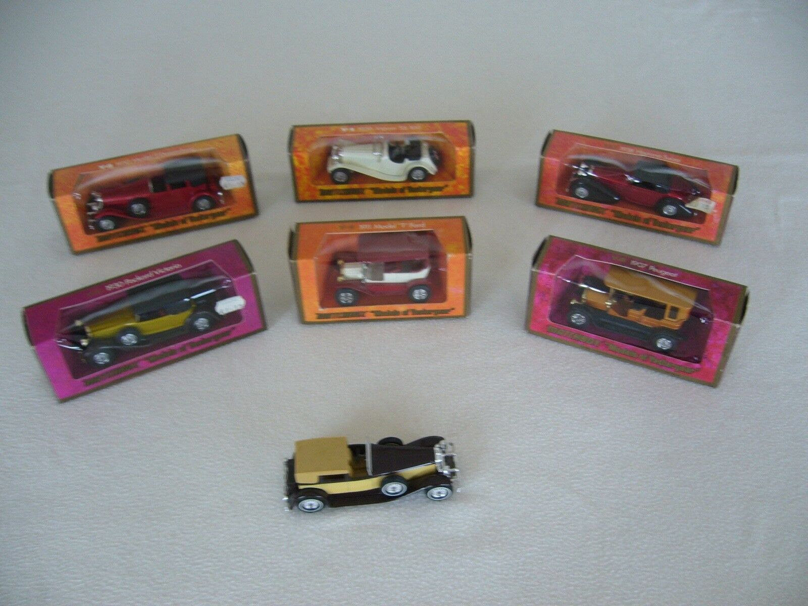 MATCHBOX MODELS OF YESTERYEAR. 6 BOXED CARS + 1 UNBOXED. ALL RARER MODELS. EEEE.