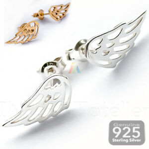 Details About 925 Sterling Silver Angel Wings Ear Studs Earrings Gold 1 Pair