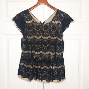 Anthropologie-Maeve-Katrine-Peplum-Top-Black-Lace-Overlay-Size-Large